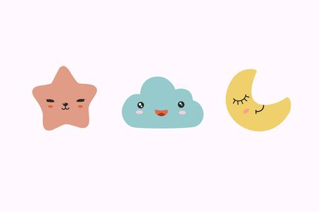 Star, cloud and cloud. Vector illustration in scandinavian style. Cartoon drawings. Childrens design