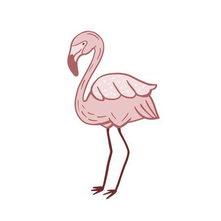 Flamingo color sketch in cartoon style. Bird illustration. Bird symbol Ilustração