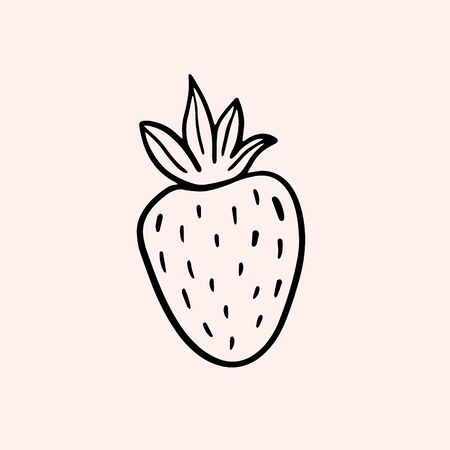 Strawberry. Vector linear illustration in doodle style. Freehand drawing Ilustracja