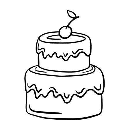Cake. Vector linear illustration. freehand drawing doodles. Birthday cake. Ilustração Vetorial