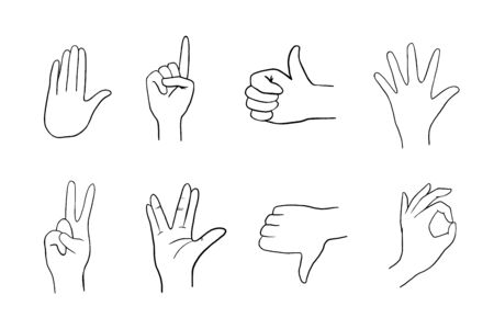 Various gestures of human hands. Vector linear illustration. Vector flat illustration of hands in different situations. Vector design elements for infographics, web, internet, presentation. Illustration