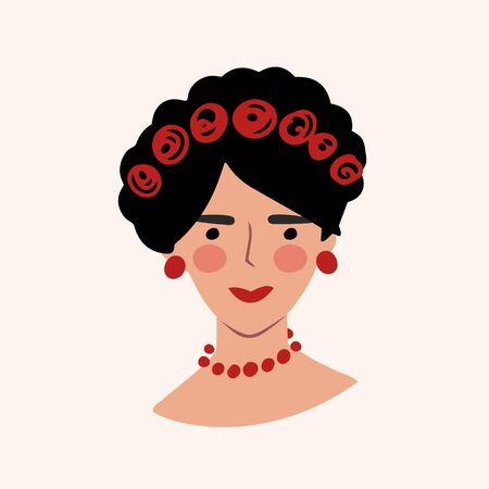 Portrait of a mexican woman. Portrait. Vector color illustration in cartoon style.