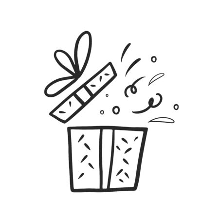 Gift box. Gift box with a surprise. Vector linear illustration freehand doodle.