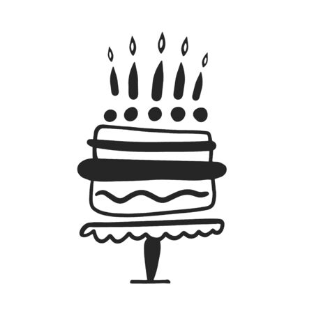 Birthday cake. Vector illustration in doodle style. Cake with candles.