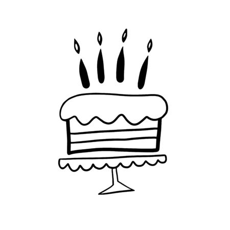 Birthday cake. Vector illustration in doodle style. Cake with candles. Birthday symbol.