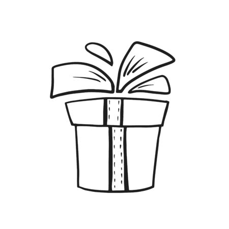 Gift box. Box with a bow. Vector linear illustration. Freehand doodle drawing. Ilustracja