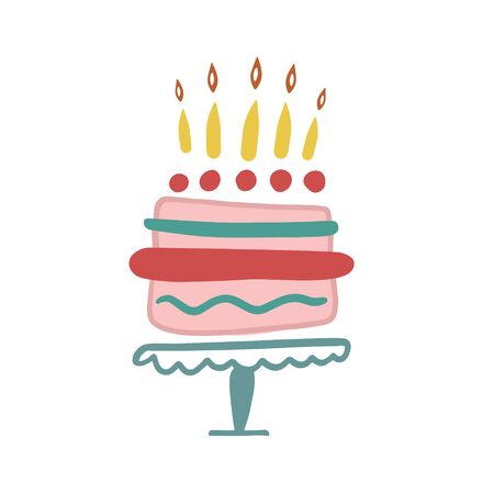 Birthday cake. Cake with candles. Happy birthday. Vector drawing of a cake. Birthday design. Birthday card. Birthday cake flat icon Ilustracja