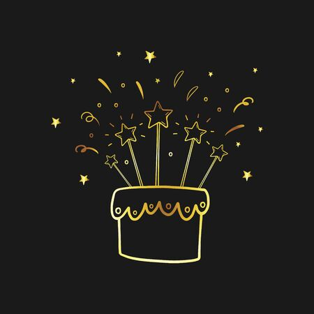 Birthday cake. Golden linear illustration. Vector linear icon in doodle style. Happy Birthday. Birthday card. Birthday cake with a candle