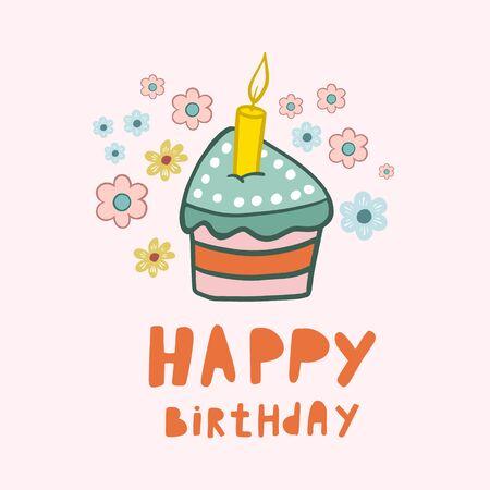 Birthday cake. Happy Birthday. Vector drawing of a cake. Cake with a candle. Birthday design. Birthday card. Flat illustration. Piece of cake