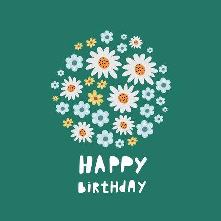Flowers vector. Happy Birthday. Birthday bouquet. Set of flowers. Bouquet of flowers. Floral vector design. Birthday card. Flat style Ilustracja