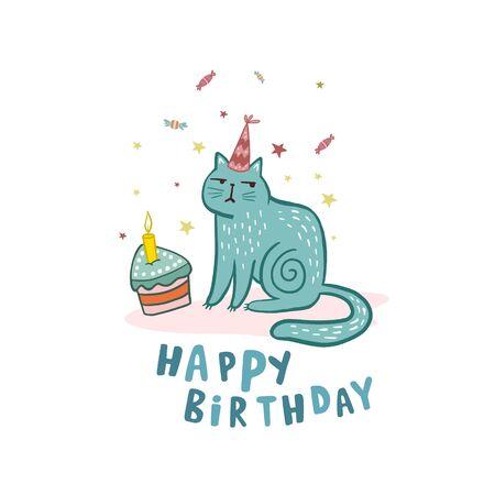Happy Birthday. Cat in cartoon style. Vector illustration.Drawing cat. Birthday cake. Birthday card