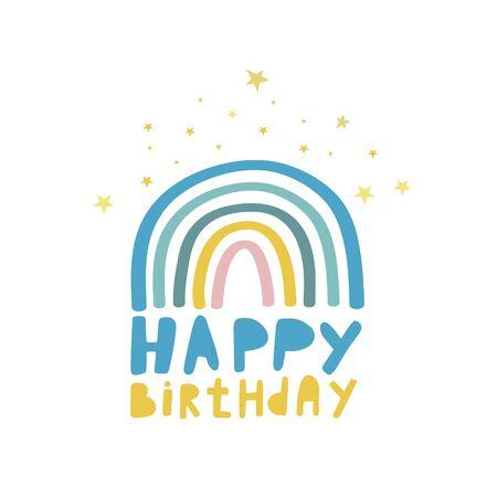 Happy Birthday. Vector illustration. Rainbow pattern with stars. Birthday design. Birthday card.