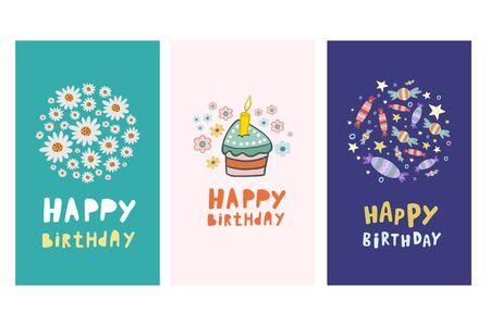 Set of birthday cards. Vecton illustration in cartoon style. Set of birthday designs. Happy Birthday. Flat illustration.