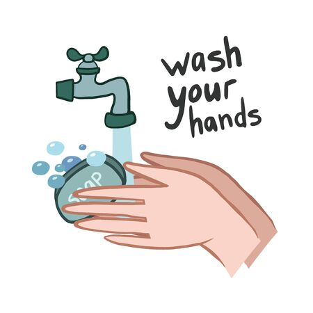 Wash your hands. Vector illustration. hand drawing. hand washing. Drawing in cartoon style. Personal hygiene Illustration