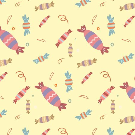Birthday pattern.Vector ornament with sweets. Birthday design. Drawing in cartoon style.