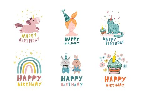 Birthday set. Vector illustration for birthday design. Collection of birthday drawings. Birthday card. Flat style drawings.