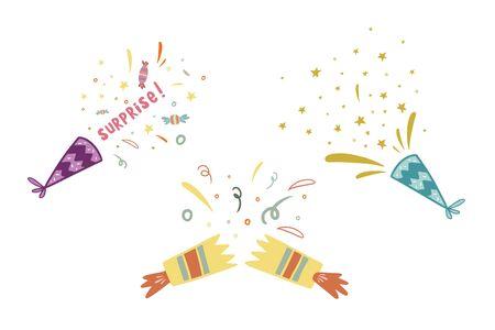 Confetti set. Birthday design. Vector illustration. Set of fireworks. Cartoon drawing in flat style.