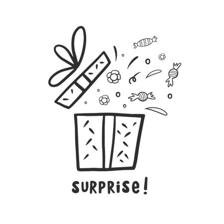 Gift. Box with a gift. Box with a surprise. doodle style vector illustration. Linear illustration Vectores