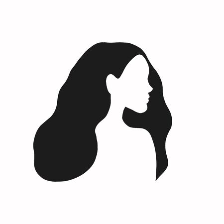 Girl. Female profile. Silhouette of a girl. Portrait of a girl. Vector illustration. Vectores
