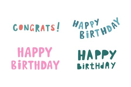 Happy Birthday. A set of inscriptions. Vector drawing in cartoon style. Cartoon lettering. Vectores