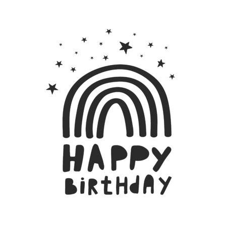 Happy birthday. Vector illustration in doodle style. Illustration of a rainbow with stars. Birthday design. Birthday card.