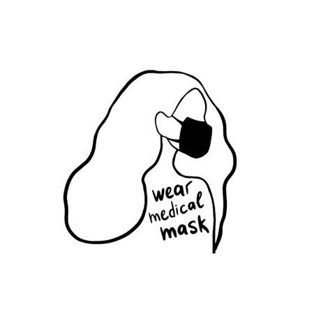 Medical masks. Girl in a medical mask. Wear medical masks. The virus is infected. Vector linear illustration in doodle style.