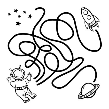 Maze game. Help the astronaut find the path to the rocket. Worksheet for education. Vector lined space illustration. Maze shape design element.