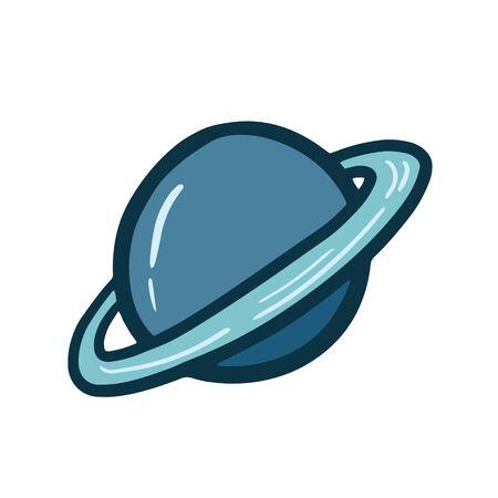 Planet. Saturn planet. Vector color illustration of Saturn. doodle drawing. planet symbol