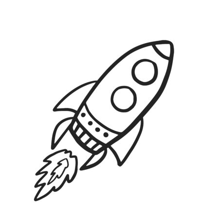 Rocket Spaceship. Vector doodle spaceship in doodle style. Flying rocket on white background Vector Illustration