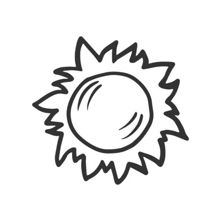 The sun. Vector linear drawing of the sun. The symbol of the sun.