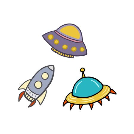 Spaceships. Flying Saucers. Rocket. Set of vector illustrations in cartoon style. Vectores