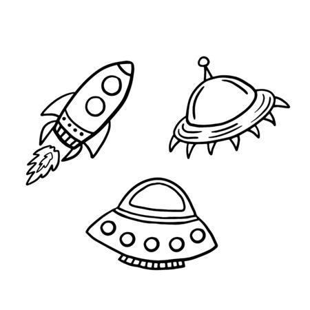 Spaceships. Flying saucers. Set of vector illustrations in doodle style.