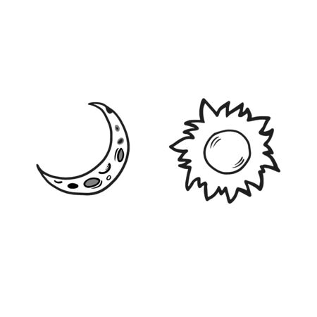 Sun and moon. Vector doodle style doodle. Signs of the sun and moon. Crescent moon and sun