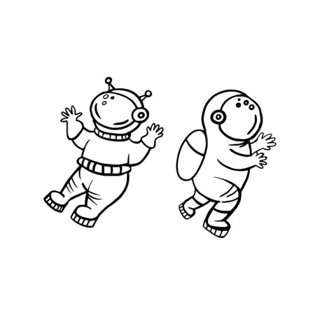 Astronauts. Vector illustration of astronauts with doodle style. Set of astronauts drawings. Vectores