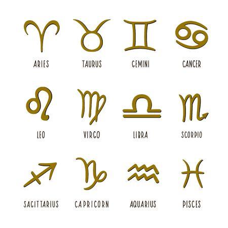 Zodiac signs. Vector illustration of zodiac signs. Set of zodiac signs. Vectores