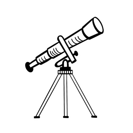 Telescope. Vector drawing of a telescope. Doodle style illustration. Vectores