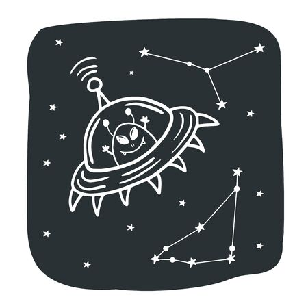 Flying saucer. Alien in a flying saucer. Cosmos illustration. Vector illustration of space with doodle style.