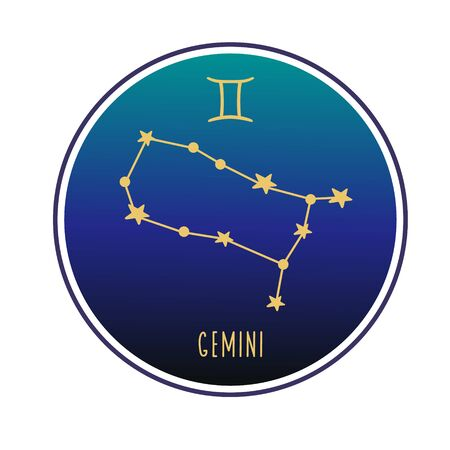 Gemini sign. Gemini zodiac constellation. Vector color illustration. Constellation and sign of Gemini. Vectores