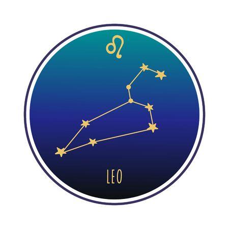 Leo  sign. Leo zodiac constellation. Vector color illustration. Leo constellation and sign Vectores
