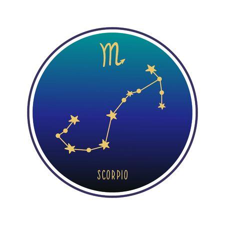 Scorpio. Zodiac constellation scorpio. Vector color illustration. Scorpio constellation and sign
