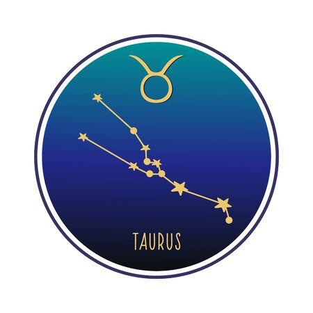 Taurus. Constellation Taurus. Vector color sketch. Constellation and Taurus sign. Vectores
