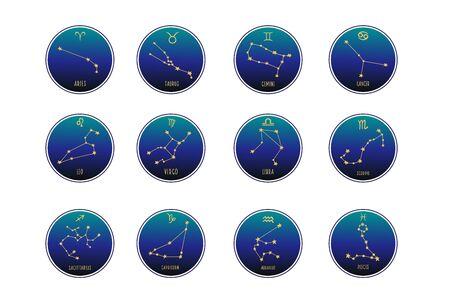 Zodiac signs. Vector set of zodiac signs. Zodiac constellations. Vector ornament. Vectores