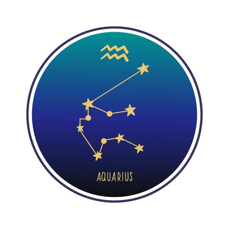 Aquarius. Zodiac constellation Aquarius. Vector color illustration. Aquarius constellation and sign. Vectores