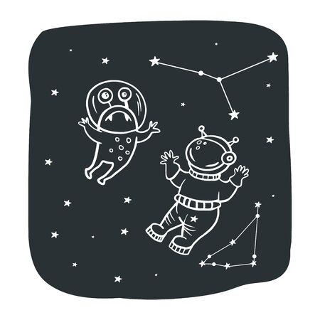Astronaut and alien. Space illustration. Vector illustration of space with doodle style. Vectores