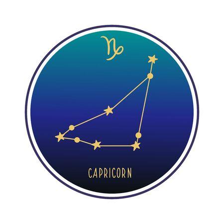 Capricorn. Zodiac constellation Capricorn. Vector color illustration. Capricorn constellation and sign