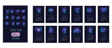 The calendar. Zodiac calendar 2021. Vector illustration of the signs of the architect. Vectores