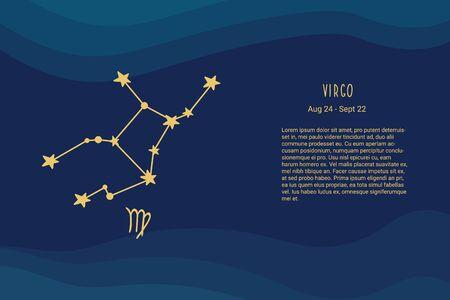 Horoscope background. Virgo zodiac sign. Horoscope vector background. Virgo constellations Vectores