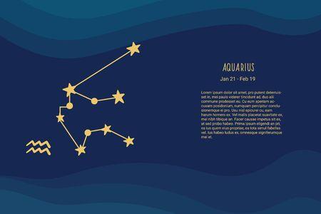 Horoscope background. Zodiac sign Aquarius. Horoscope vector background. Constellations Aquarius