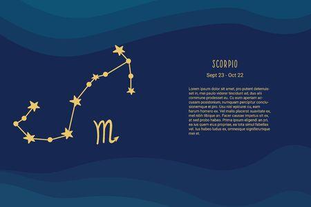 Horoscope background. Zodiac sign Scorpio. Horoscope vector background. Constellation scorpio Vectores