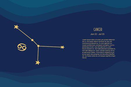 Horoscope background. Cancer sign. Vector horoscope background. Cancer constellations. Vectores